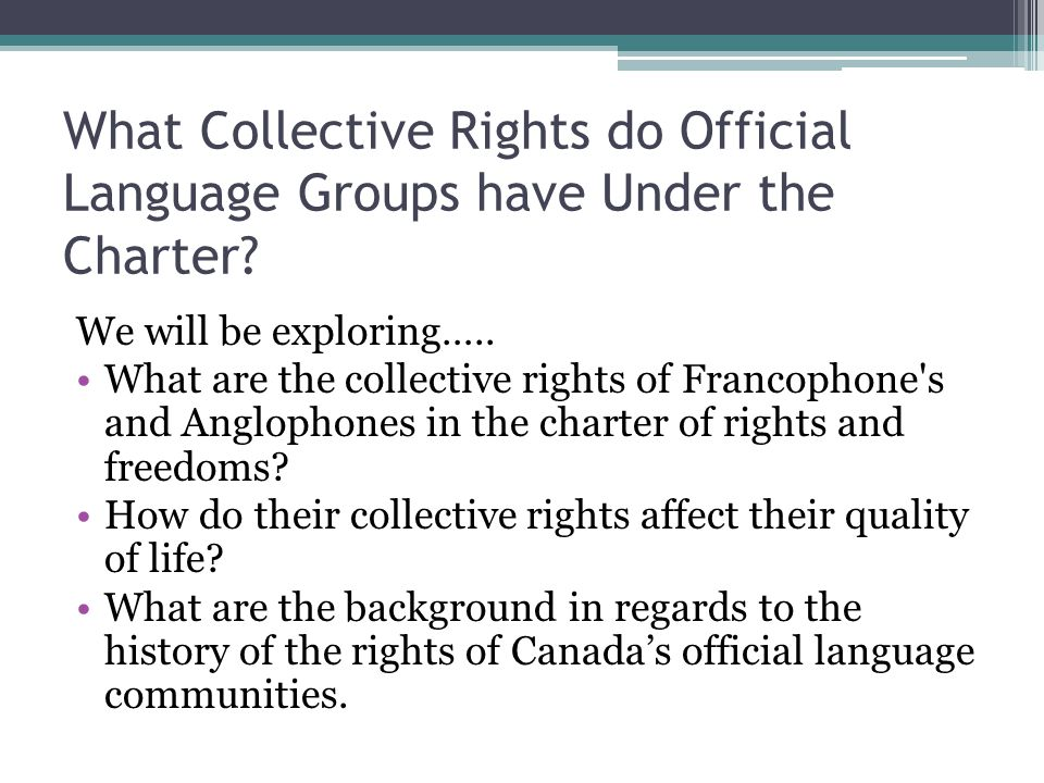 What Collective Rights do Official Language Groups have Under the Charter