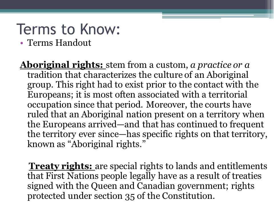 Terms to Know: Terms Handout