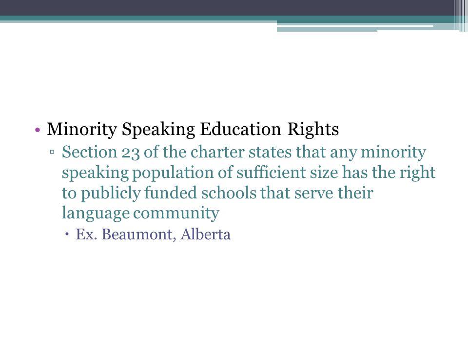 Minority Speaking Education Rights