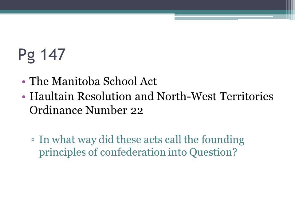 Pg 147 The Manitoba School Act