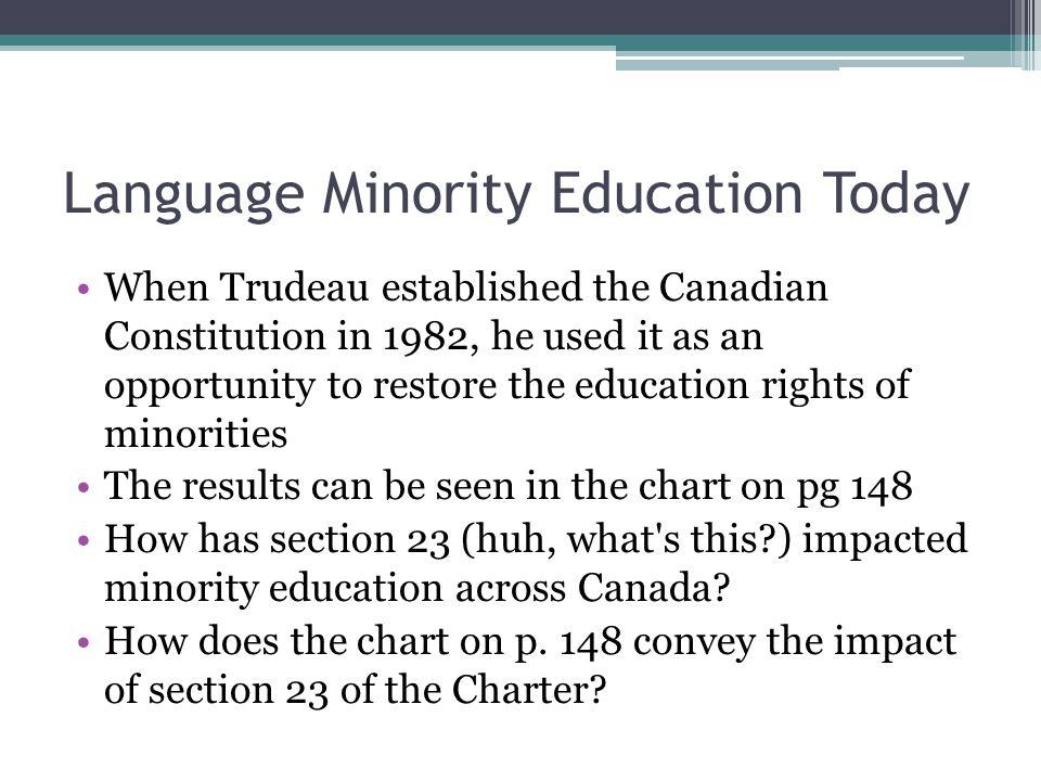 Language Minority Education Today