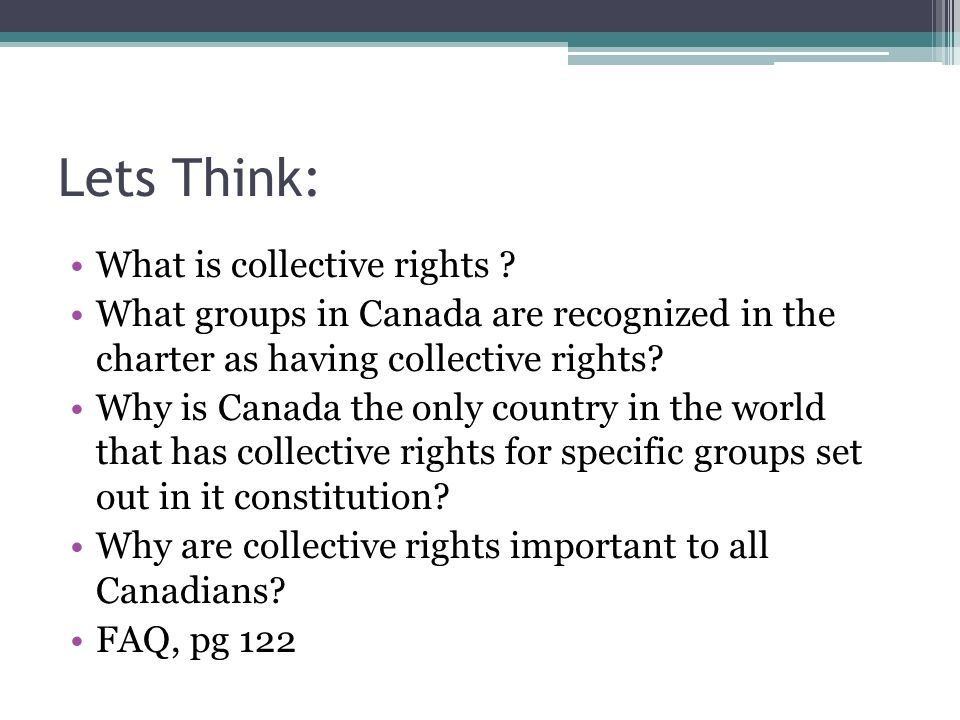 Lets Think: What is collective rights