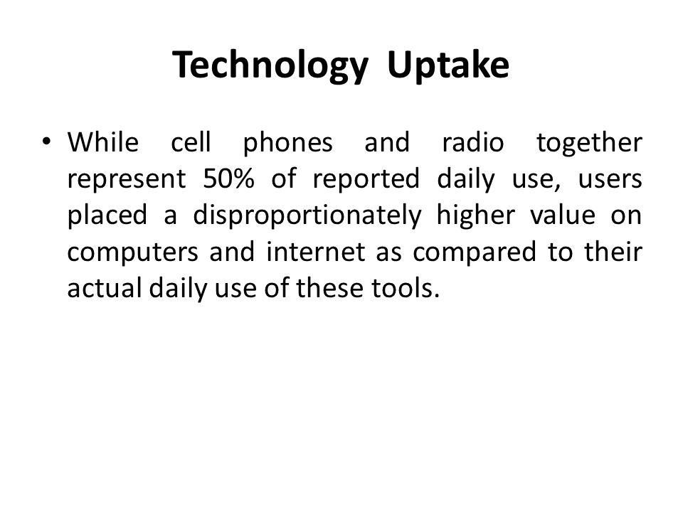 Technology Uptake