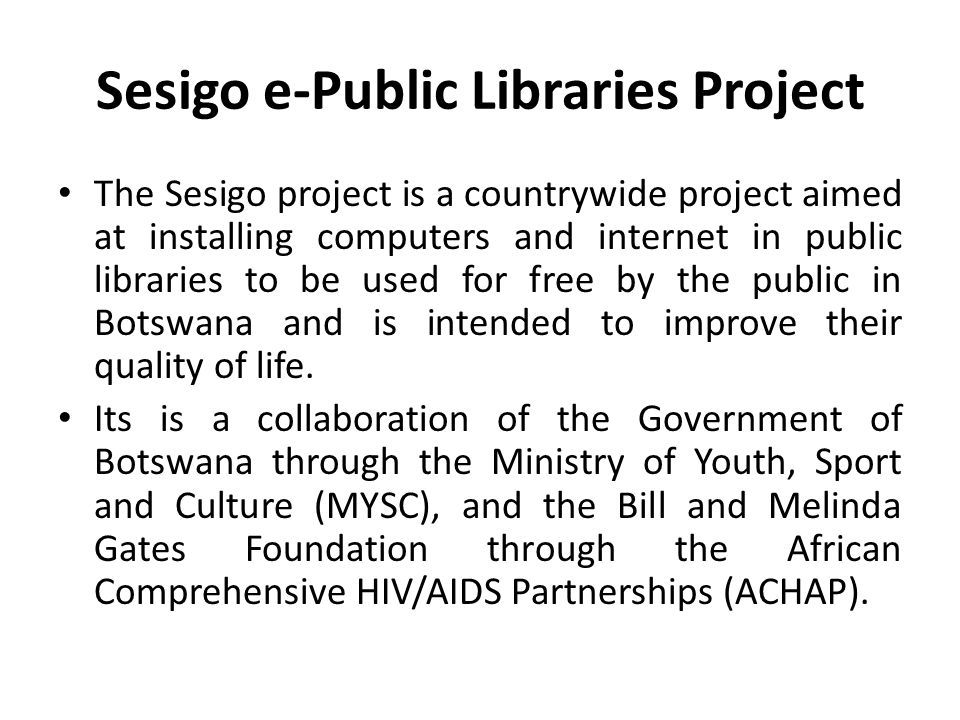 Sesigo e-Public Libraries Project