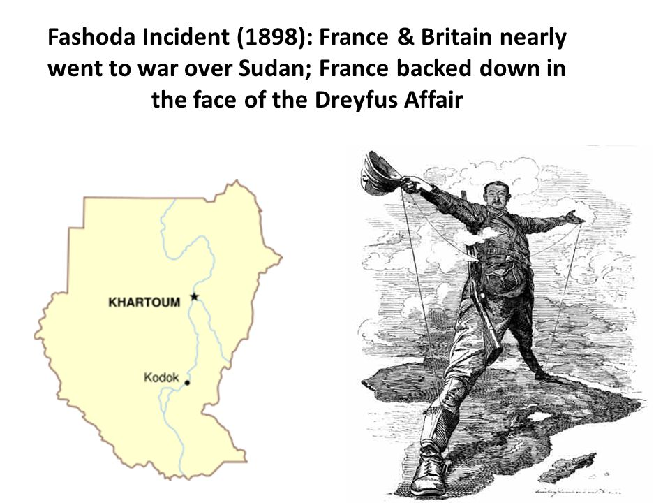 Fashoda Incident (1898): France & Britain nearly went to war over Sudan; France backed down in the face of the Dreyfus Affair