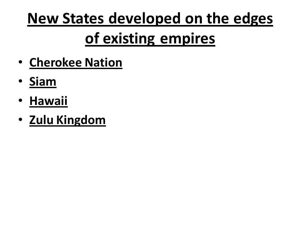 New States developed on the edges of existing empires