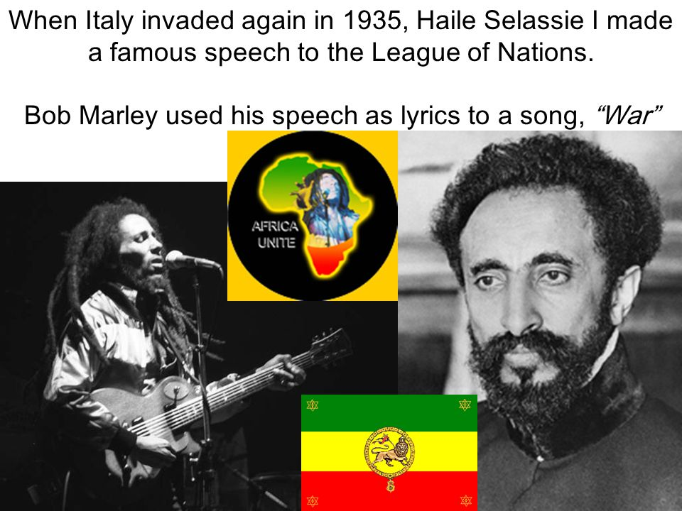 Bob Marley used his speech as lyrics to a song, War