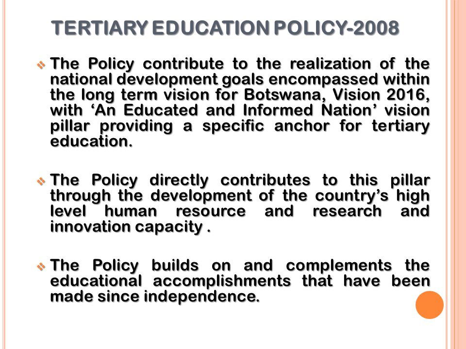 TERTIARY EDUCATION POLICY-2008
