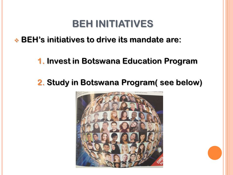 BEH INITIATIVES BEH's initiatives to drive its mandate are: