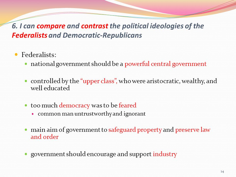 6. I can compare and contrast the political ideologies of the Federalists and Democratic-Republicans
