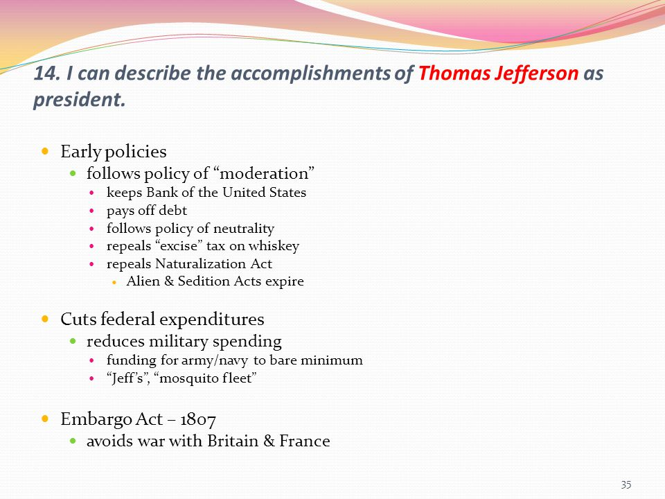 14. I can describe the accomplishments of Thomas Jefferson as president.