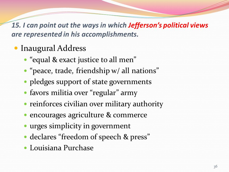 15. I can point out the ways in which Jefferson's political views are represented in his accomplishments.