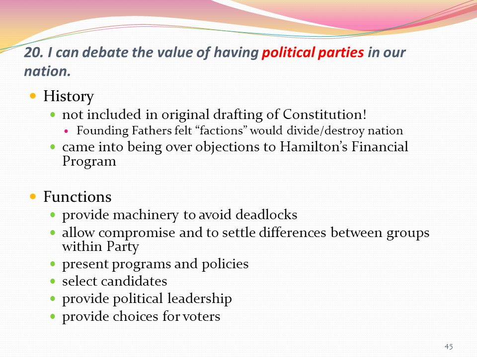 20. I can debate the value of having political parties in our nation.