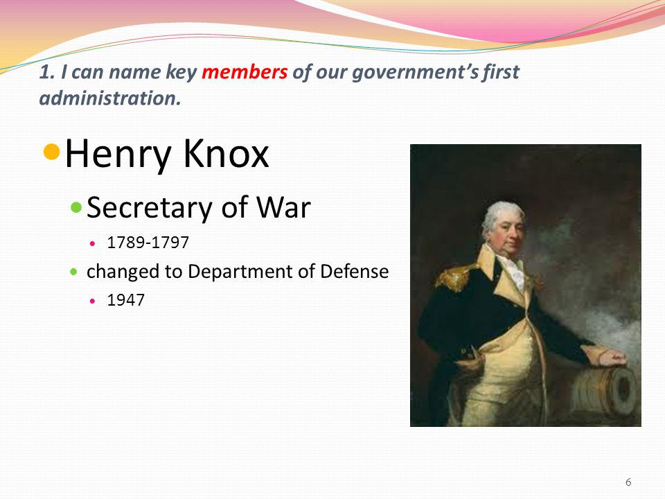 1. I can name key members of our government's first administration.