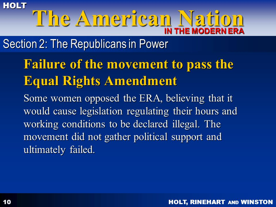 Failure of the movement to pass the Equal Rights Amendment