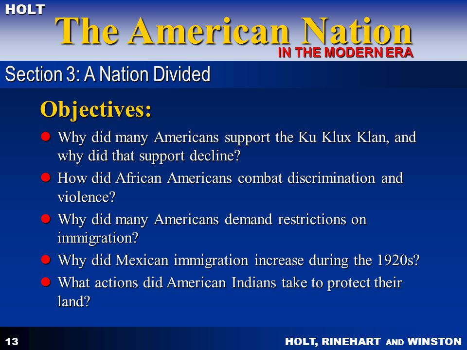 Objectives: Section 3: A Nation Divided