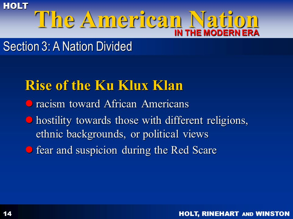 Rise of the Ku Klux Klan Section 3: A Nation Divided