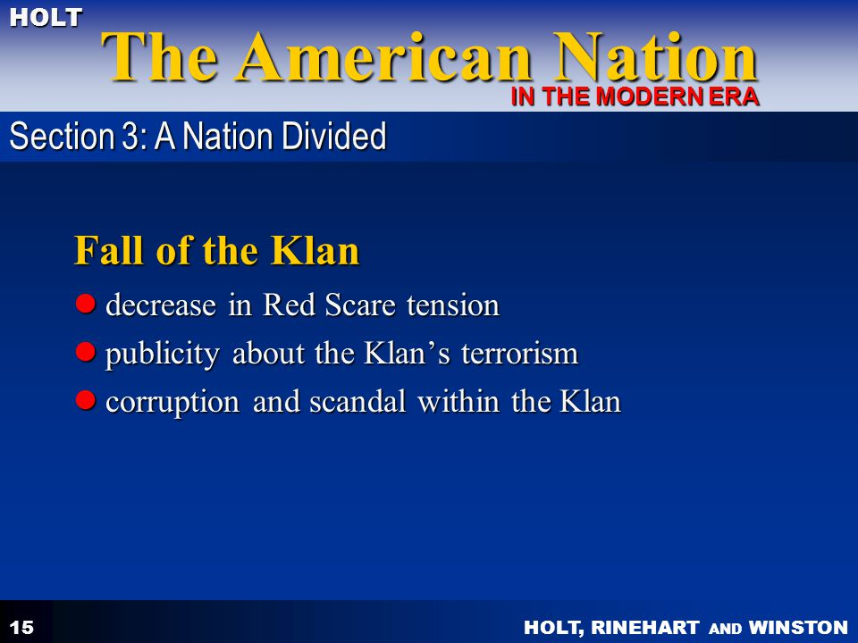 Fall of the Klan Section 3: A Nation Divided
