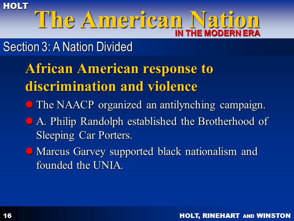 African American response to discrimination and violence