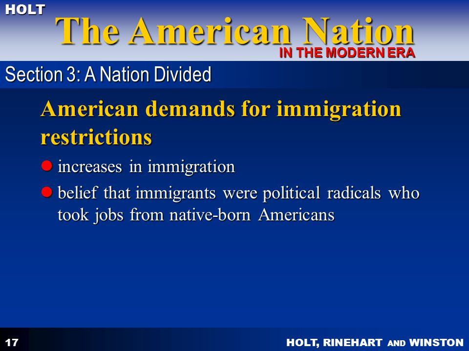 American demands for immigration restrictions