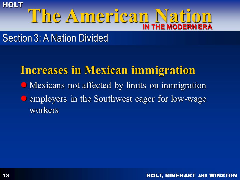 Increases in Mexican immigration