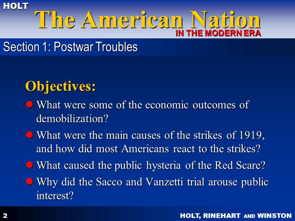 Objectives: Section 1: Postwar Troubles