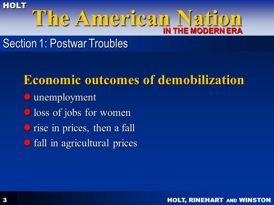 Economic outcomes of demobilization