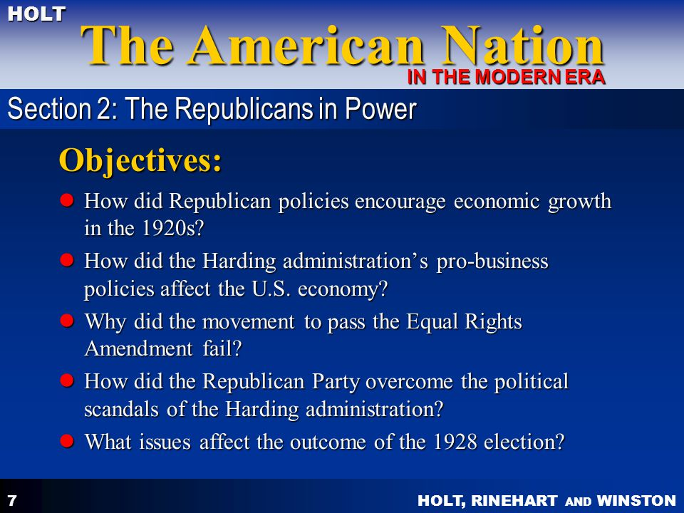 Objectives: Section 2: The Republicans in Power