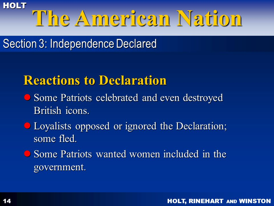 Reactions to Declaration
