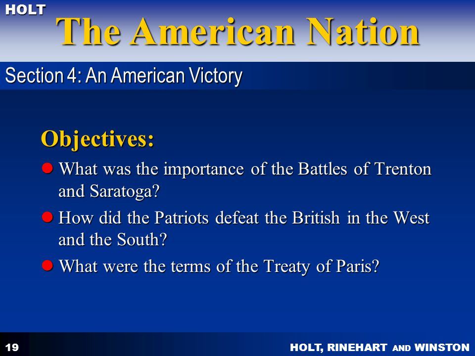 Objectives: Section 4: An American Victory