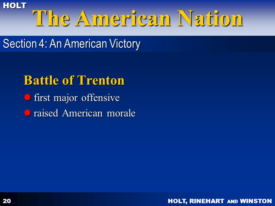 Battle of Trenton Section 4: An American Victory first major offensive