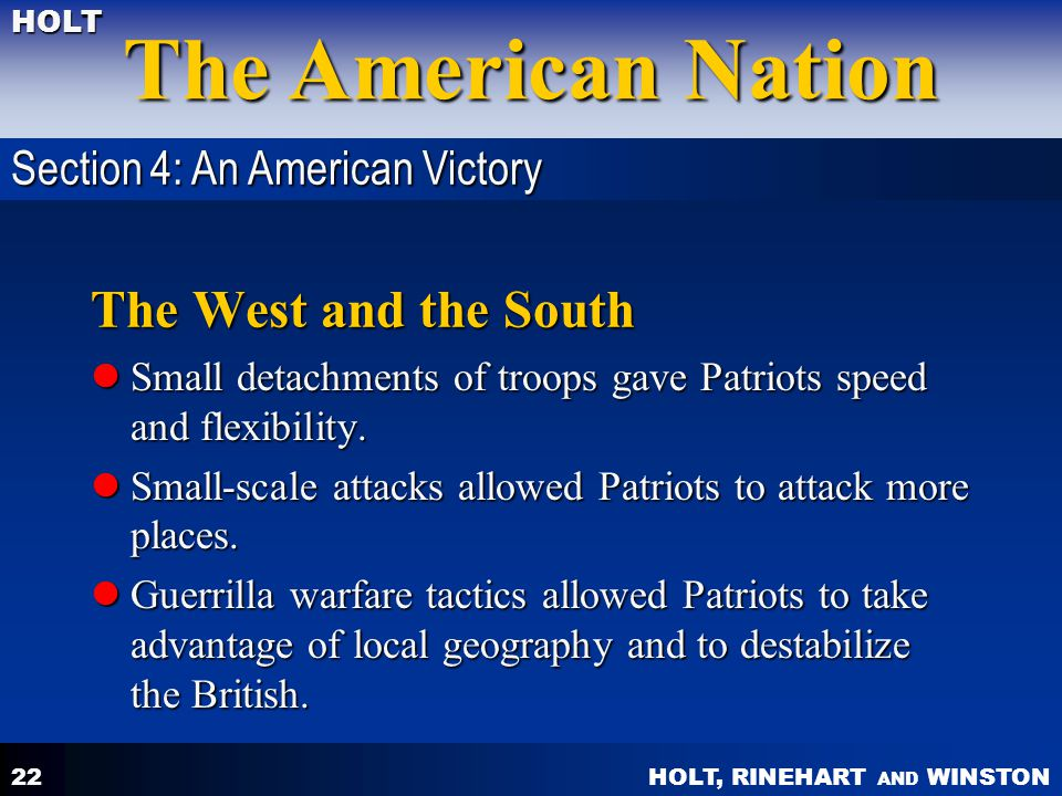 The West and the South Section 4: An American Victory