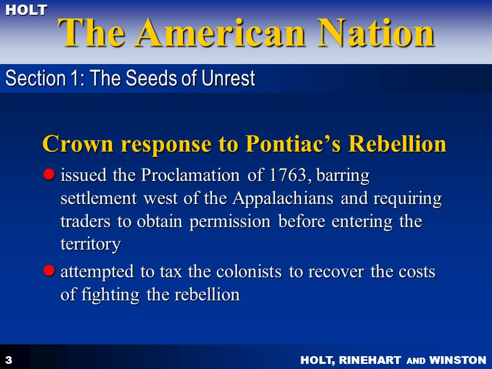Crown response to Pontiac's Rebellion