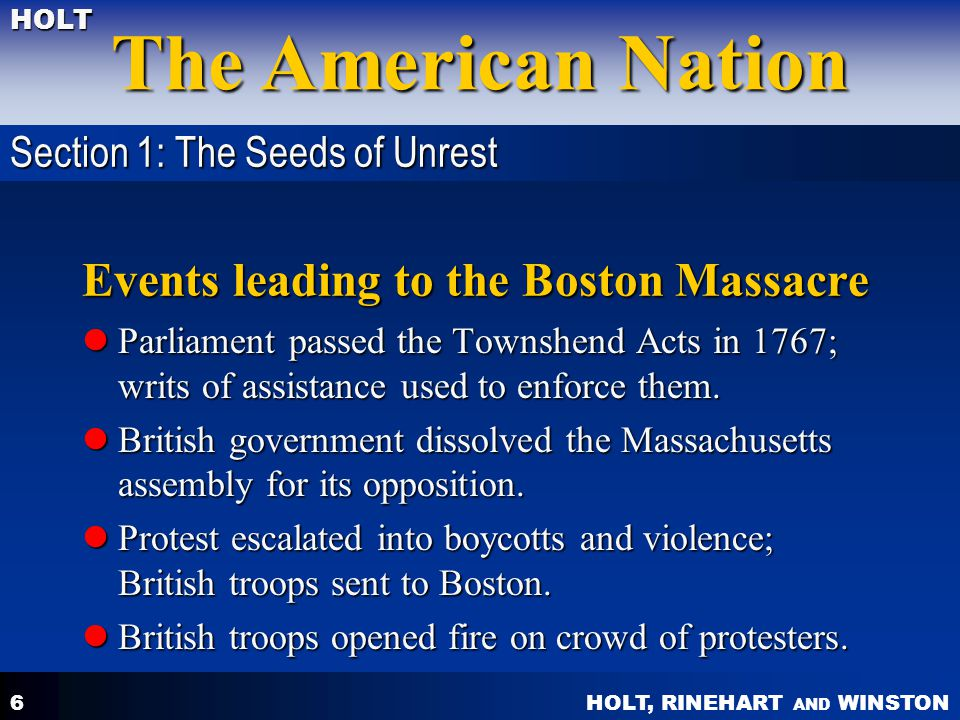 Events leading to the Boston Massacre