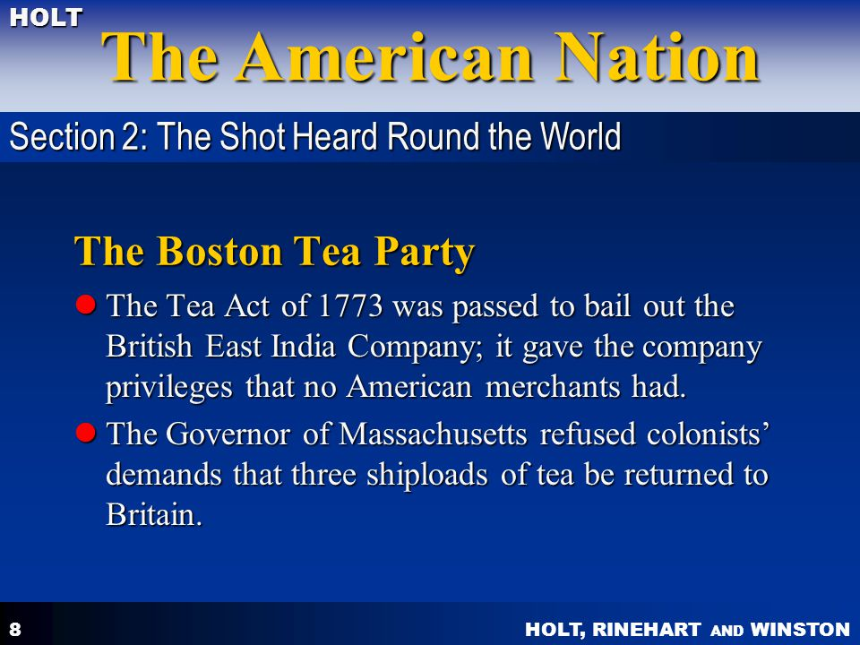 The Boston Tea Party Section 2: The Shot Heard Round the World