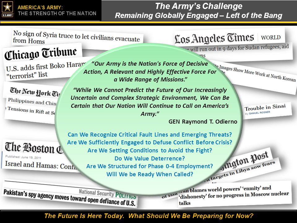 The Army's Challenge Remaining Globally Engaged – Left of the Bang