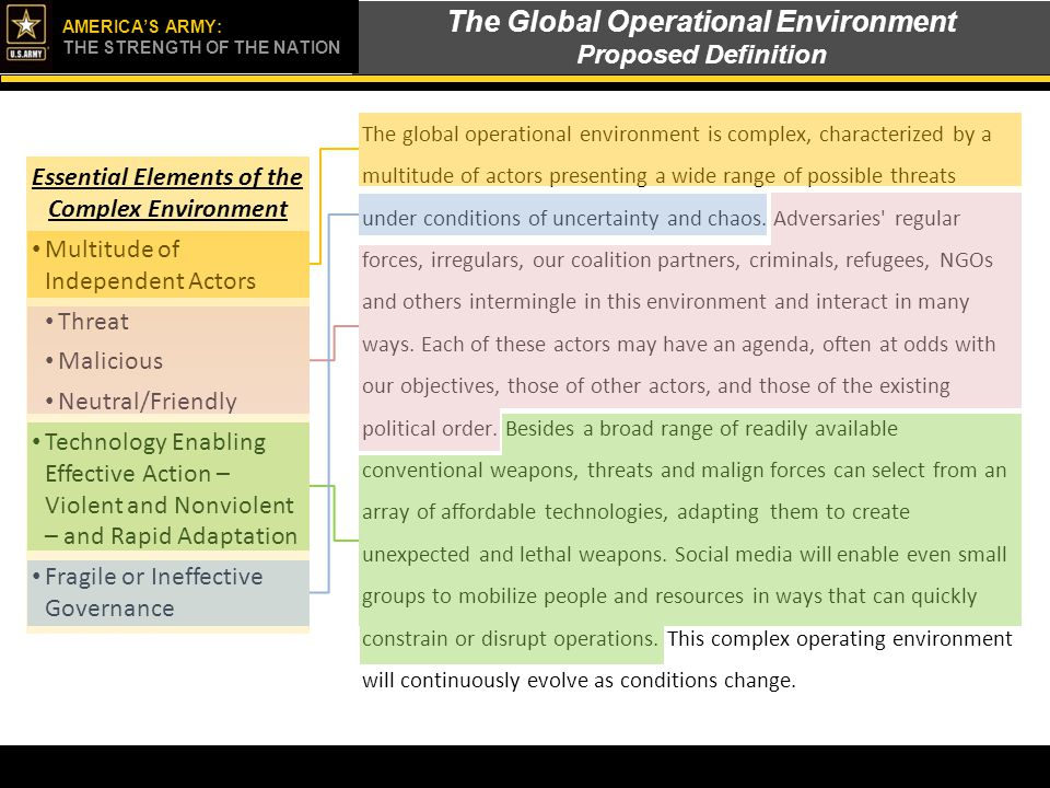 The Global Operational Environment Proposed Definition