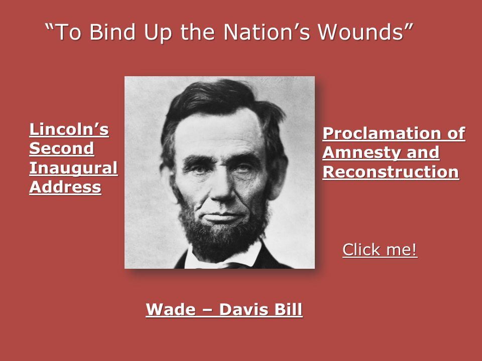 To Bind Up the Nation's Wounds