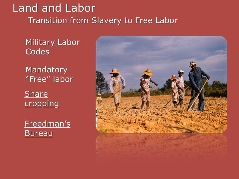 Land and Labor Transition from Slavery to Free Labor