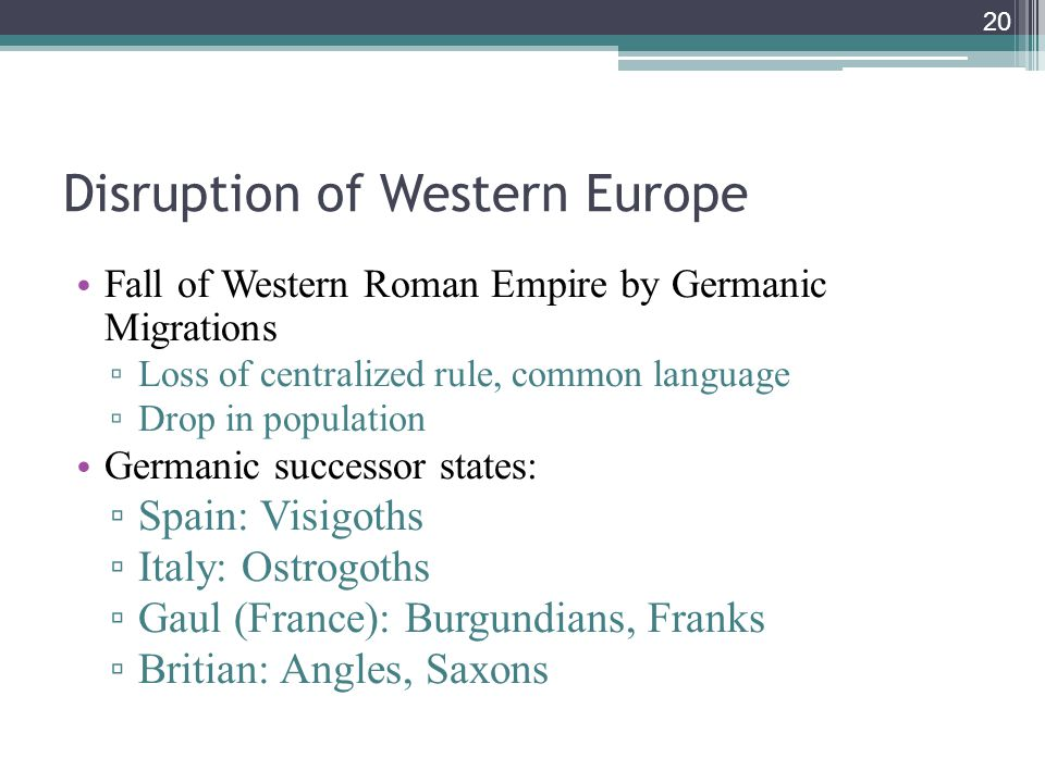 Disruption of Western Europe
