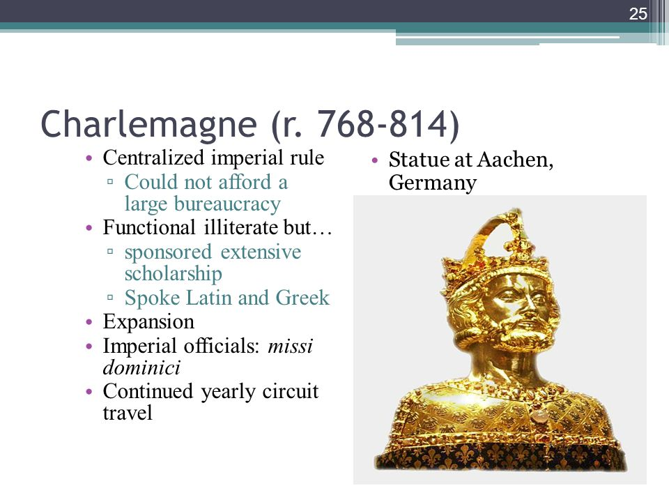 Charlemagne (r. 768-814) Centralized imperial rule