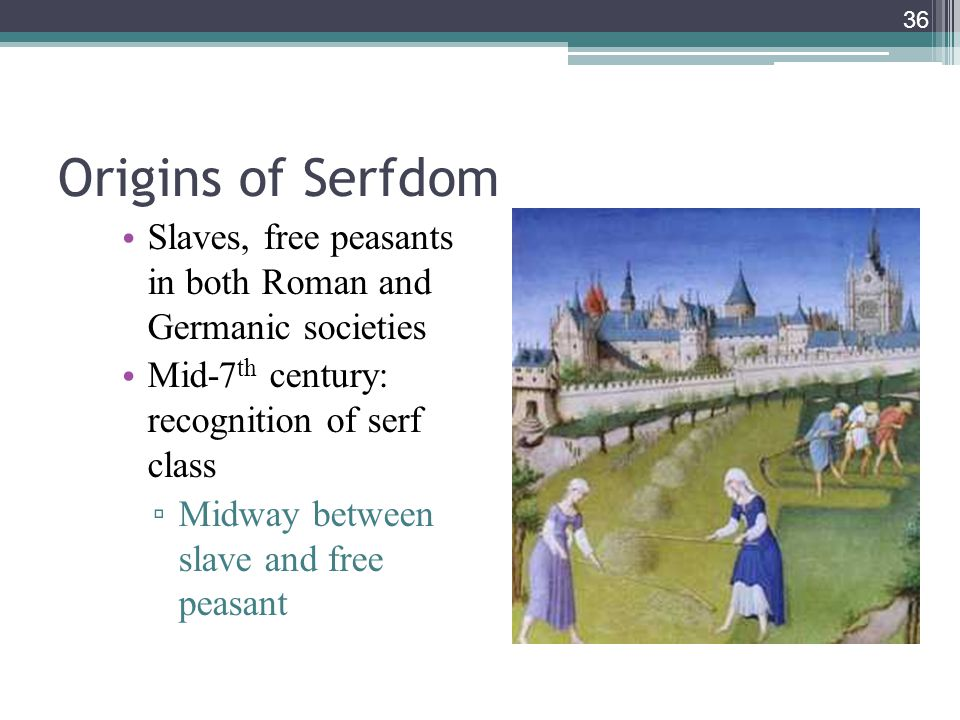 Origins of Serfdom Slaves, free peasants in both Roman and Germanic societies. Mid-7th century: recognition of serf class.