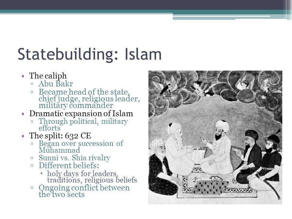 Statebuilding: Islam The caliph Abu Bakr