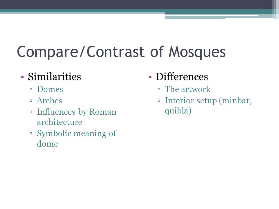 Compare/Contrast of Mosques