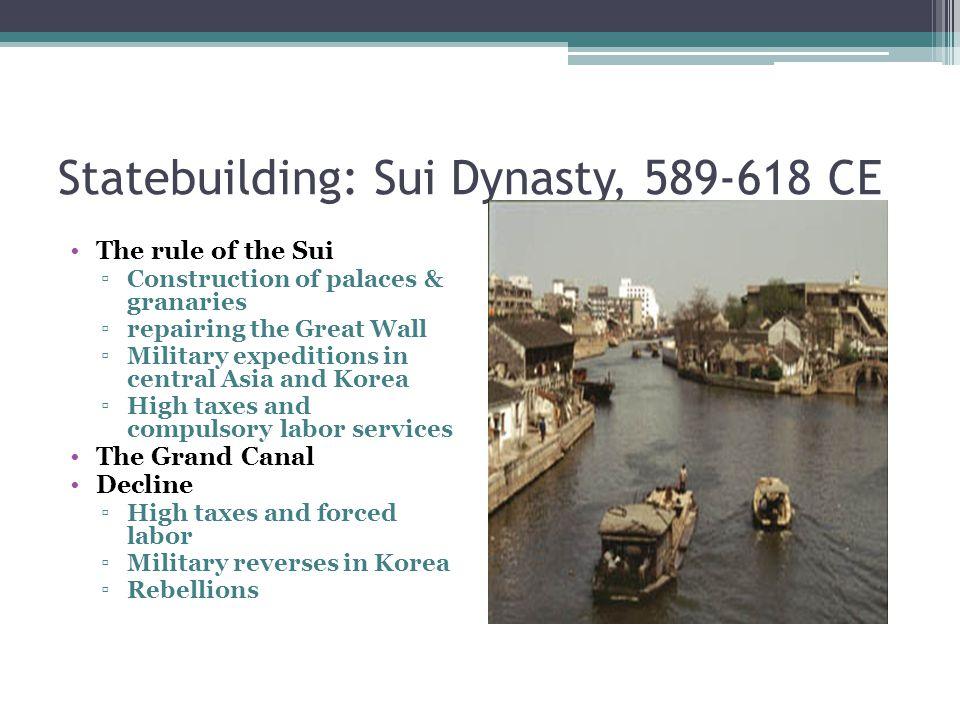 Statebuilding: Sui Dynasty, 589-618 CE