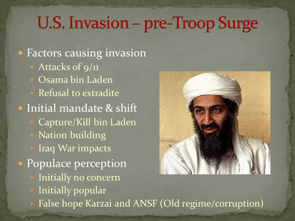 U.S. Invasion – pre-Troop Surge