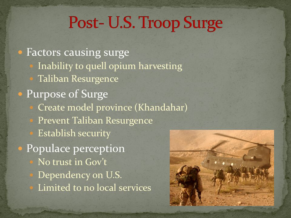 Post- U.S. Troop Surge Factors causing surge Purpose of Surge