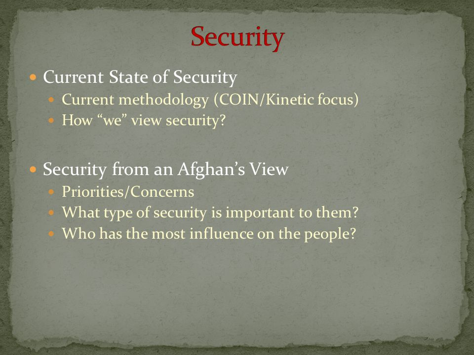 Security Current State of Security Security from an Afghan's View