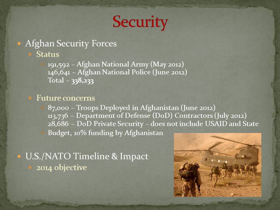 Security Afghan Security Forces U.S./NATO Timeline & Impact Status