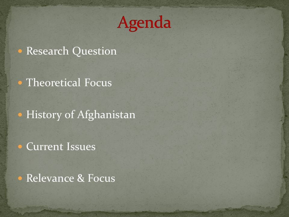Agenda Research Question Theoretical Focus History of Afghanistan